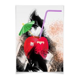 """Плакат A3(29.7x42) """"Яблочный микс"""" - фрукты, абстракция, яблоко, натюрморт, зонтик"""
