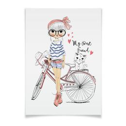 """Плакат A3(29.7x42) """"Девушка и котёнок"""" - девушка, велосипед, котёнок, друг"""