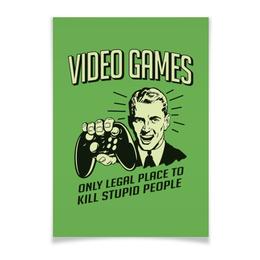 """Плакат A3(29.7x42) """"Геймер"""" - приколы, компьютерные игры, old school, video games, для геймеров"""