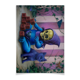 "Плакат A3(29.7x42) ""Art Horror"" - skull, череп, кот, cat, малыш"