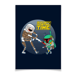 "Плакат 42x29.7(A3) ""Bounty Hunting Time"" - star wars, adventure time, время приключений, звездные войны, финн и джейк"