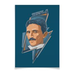 "Плакат A3(29.7x42) ""Tesla"" - портрет, тесла, никола тесла постер, научный постер"