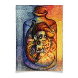 """Плакат A3(29.7x42) """"Русалочка в бутылке"""" - море, рисунок, русалочка, русалка"""