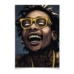 "Плакат A3(29.7x42) ""WizKhalifa"" - wizkhalifa, star, rap, music, digitalart"