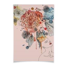 """Плакат A3(29.7x42) """"Абстрактная акварель"""" - абстракция, акварель, пастель, шебби шик, пудровый розовый"""