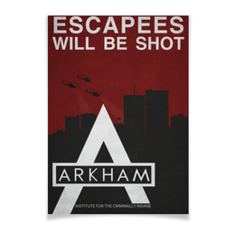 "Плакат A3(29.7x42) ""Arkham"" - комиксы, batman, бэтмен, dc comics, аркхэм"