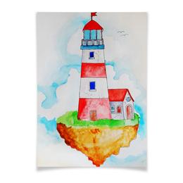 """Плакат A3(29.7x42) """"Маяк """" - рисунок, маяк, акварель, остров"""