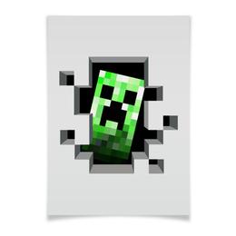 "Плакат A3(29.7x42) ""Крипер. Майнкрафт"" - игры, minecraft, майнкрафт, крипер, геймерские"