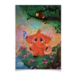 """Плакат A3(29.7x42) """"Слоник"""" - бабочка, цветы, слон, попугай, сказка"""
