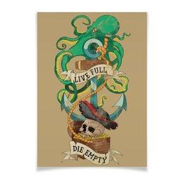 """Плакат A3(29.7x42) """"Осьминог"""" - череп, якорь, old school, татуировка, пират"""