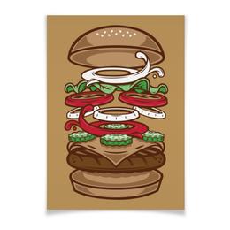 """Плакат A3(29.7x42) """"BURGER/БУРГЕР"""" - арт, еда, вектор, бургер"""