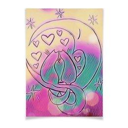 """Плакат A3(29.7x42) """"Влюбленные коты на луне"""" - любовь, день святого валентина, 14 февраля, подарки, день влюбленных"""
