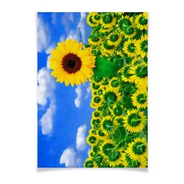 """Плакат A3(29.7x42) """"Подсолнух"""" - лето, цветок, небо, облака, подсолнух"""