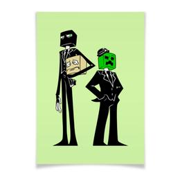 """Плакат A3(29.7x42) """"Крипер и Эндермен. Майнкрафт"""" - игры, minecraft, майнкрафт, геймерские, крипер и эндермен"""