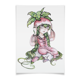 """Плакат 42x29.7(A3) """"Девочка-редиска"""" - рисунок, аниме, овощ, редиска"""