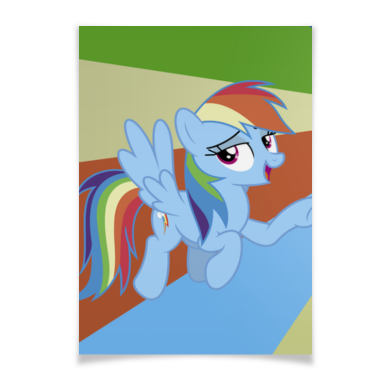 Плакат A2(42x59) Printio Rainbow dash color line