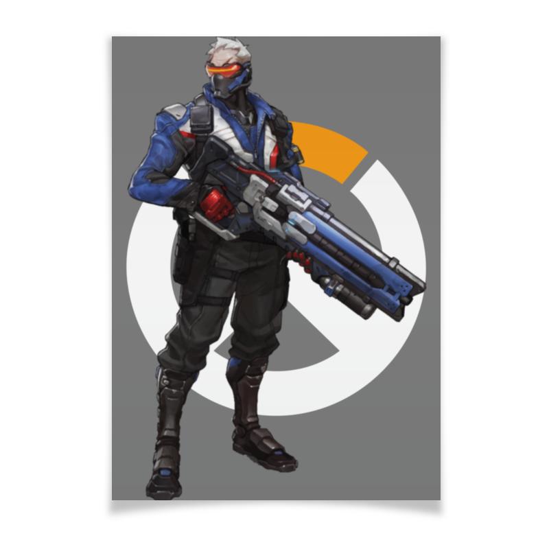 Плакат A2(42x59) Printio Overwatch soldier 76 / овервотч солдат 76