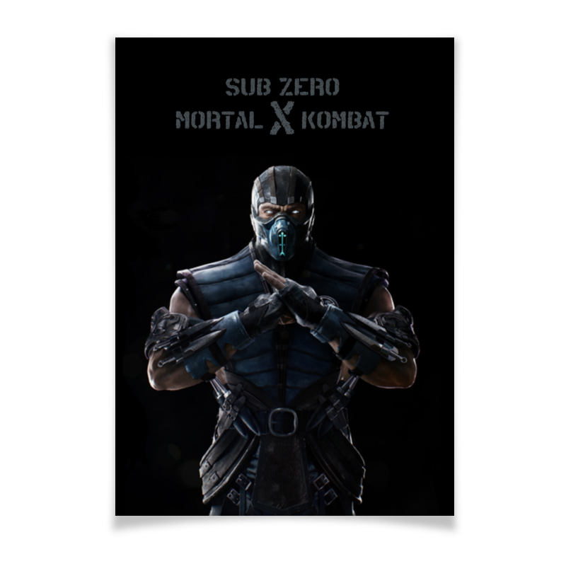 Плакат A2(42x59) Printio Mortal kombat x (sub-zero) видеоигра для ps4 mortal kombat x special edition