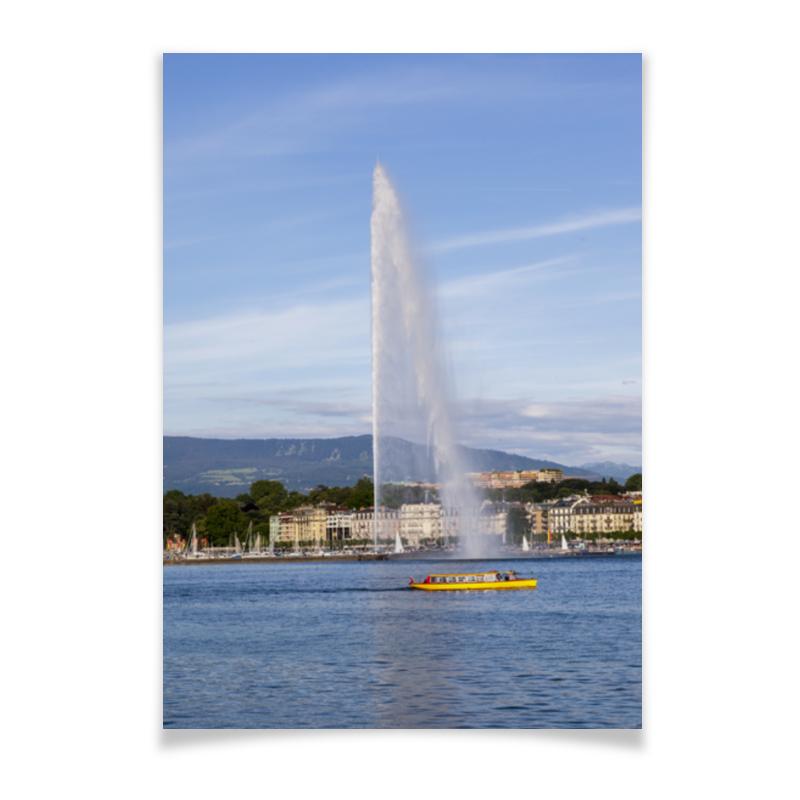 Printio Женева. фонтан же-до printio женева вечер