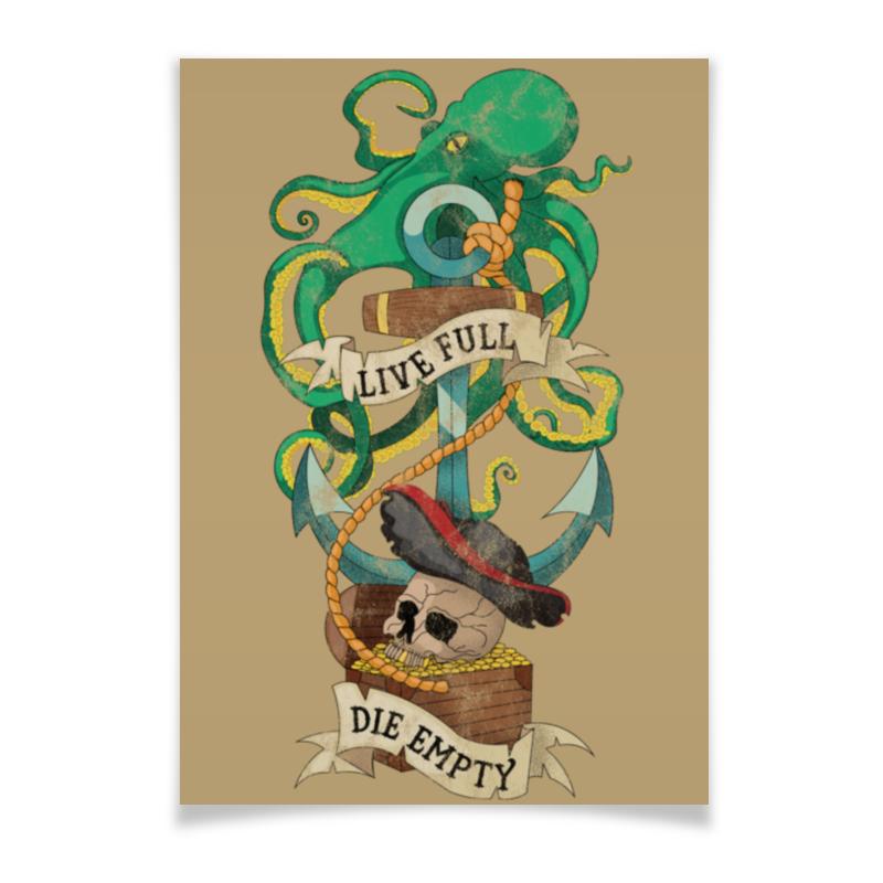 Плакат A2(42x59) Printio Осьминог old uncle mushroom