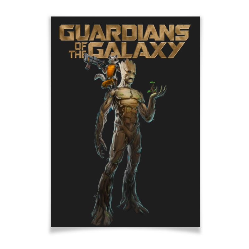 Плакат A2(42x59) Printio Rocket raccoon and groot/енот ракета и грут плакат a2 42x59 printio противостояние
