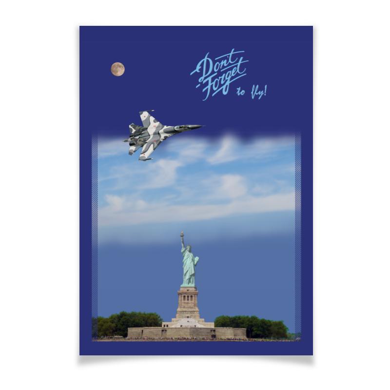 Плакат A2(42x59) Printio Истребитель су-57 над статуей свободы