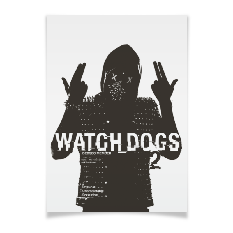 Плакат A2(42x59) Printio Watch dogs 2 watch dogs aiden pearce face mask cap hat set costume video game cosplay cos