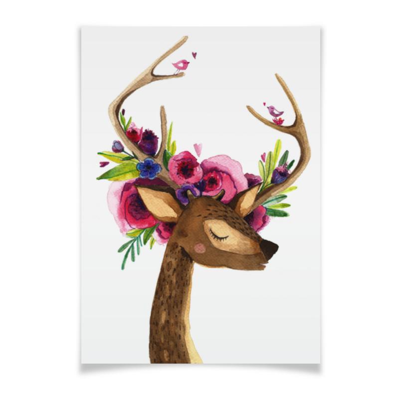 Плакат A2(42x59) Printio Олень с цветами в рогах плакат a2 42x59 printio противостояние