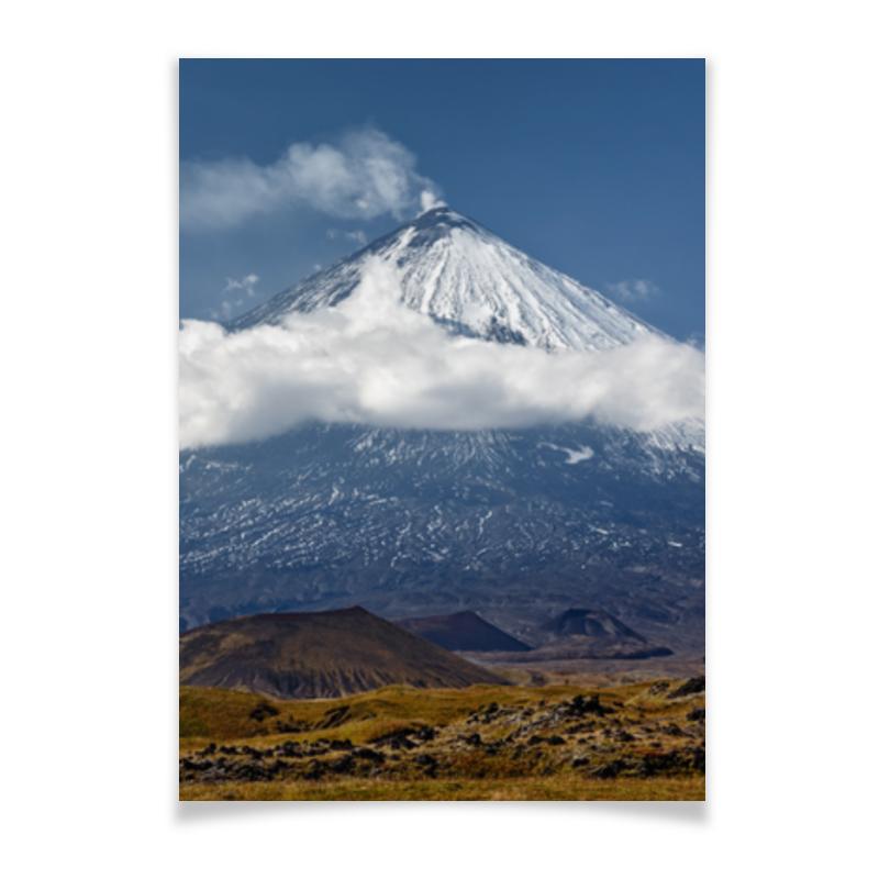 Плакат A2(42x59) Printio Камчатка, осенний пейзаж, извержение вулкана