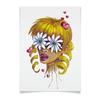 """Плакат A2(42x59) """"Без ума от цветов"""" - любовь, девушка, цветы, сердца, блондинка"""