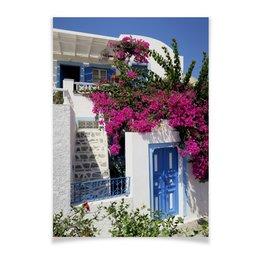 """Плакат A2(42x59) """"""""Греция. Остров Санторини"""""""" - цветы, путешествия, travel, греция, санторини"""