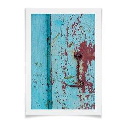 """Плакат A2(42x59) """"На крючке"""" - голубой, дверь, дерево, ржавчина, крюк"""