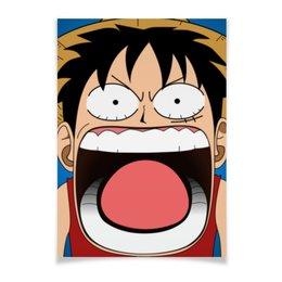 "Плакат A2(42x59) ""Луффи - Чё??!!"" - аниме, шляпа, one piece, луффи, монки ди луффи"