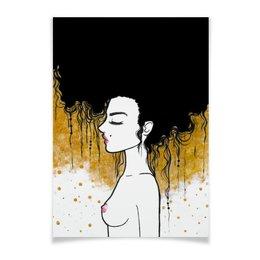 """Плакат A2(42x59) """"Golden"""" - любовь, девушка, золотой, климт"""
