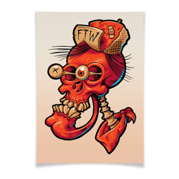 "Плакат A2(42x59) ""Череп весёлый арт"" - skull, череп, прикол, арт, дизайн"