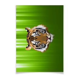 """Плакат A2(42x59) """"Взгляд тигра"""" - рисунок, взгляд, тигр, джунгли"""