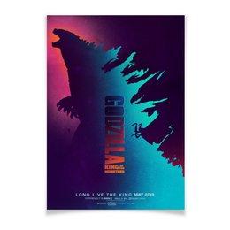 """Плакат A2(42x59) """"Годзилла / Godzilla"""" - силуэт, япония, неон, годзилла, godzilla"""