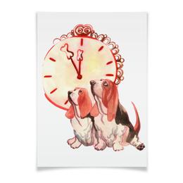 """Плакат A2(42x59) """"новогодние акварельные собаки"""" - милый, собака, часы, игрушка, полночь"""