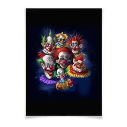 "Плакат A2(42x59) ""Клоуны-злодеи"" - ужасы, фэнтэзи, клоуны, злодеи"