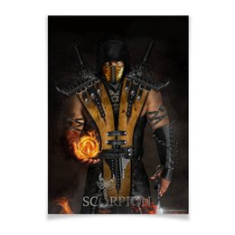 "Плакат A2(42x59) ""Mortal Kombat (Scorpion)"" - воин, боец, скорпион, mortal kombat, scorpion"