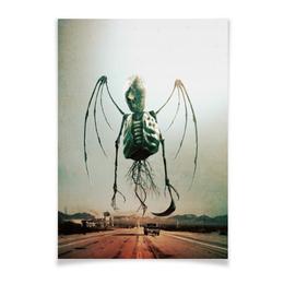 """Плакат A2(42x59) """"Монстры Юга"""" - череп, рок, скелет, смерть, ужасы"""