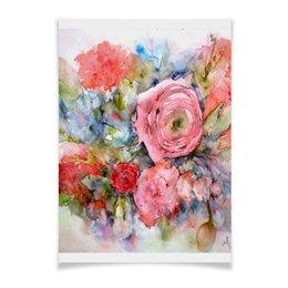 """Плакат A2(42x59) """"Акварельный букет"""" - цветок, розовый, нежный, акварелью, картина акварелью"""