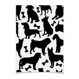 "Плакат A2(42x59) ""Собаки"" - животные, dog, собака, пёс, косточка"