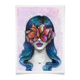"""Плакат A2(42x59) """"Весна"""" - праздник, девушка, цветы, 8 марта, весна"""