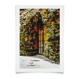 """Плакат A2(42x59) """"вход в рождество"""" - праздник, гирлянда, елка, новогодняя елка, снег на ветках"""
