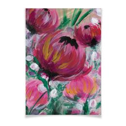 """Плакат A2(42x59) """"Полевые цветы"""" - лето, цветы, весна, розовый, подарок"""