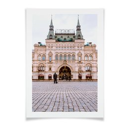 "Плакат A2(42x59) ""Гум, Москва, Красная площадь"" - москва, бежевый, архитектура, гум, розовый скутер"