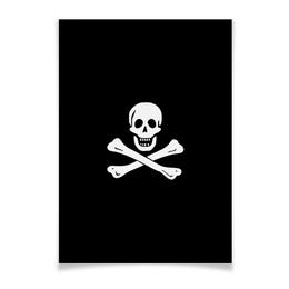 "Плакат A2(42x59) """"Весёлый Роджер - Jolly Roger"""" - череп, пираты, jolly roger, пиратский флаг, весёлый роджер"