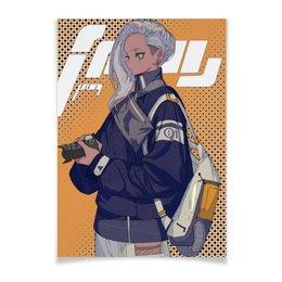 """Плакат A2(42x59) """"Аниме-фотограф с камерой"""" - аниме, манга, япония, иероглифы, фотограф"""