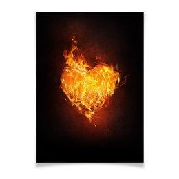 """Плакат A2(42x59) """"Огненное сердце"""" - сердце, любовь, огонь, страсть, чувства"""